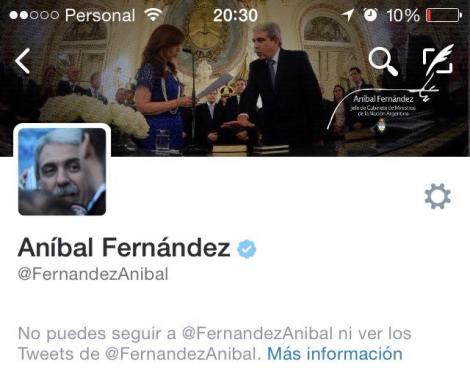 Anibal Fernandez me bloqueo en Twitter