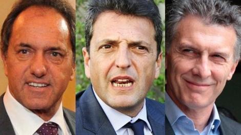 Scioli, Massa y Macri los 3 candidatos que obtuvieron mayor cantidad de votos