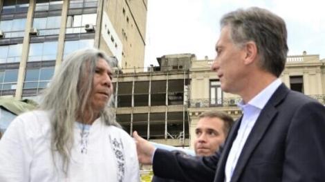 Félix Díaz recibir al candidato a Mauricio Macri